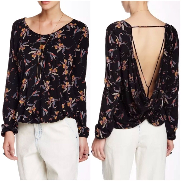 c5a4d5b8febd1c Free People Tops - Free People Elsa Jersey Floral Open Back Top